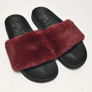 Black and Red Faux Fur Slide Sandals